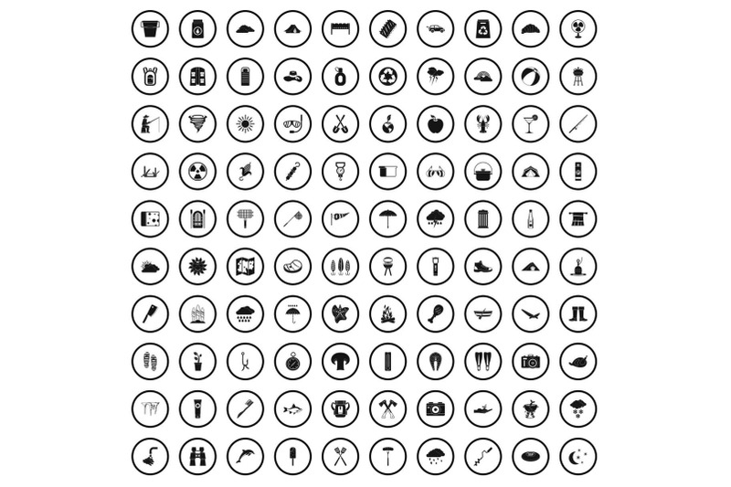 100-tourist-camp-icons-set-simple-style