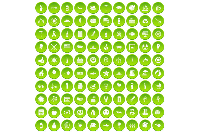 100-summer-holidays-icons-set-green