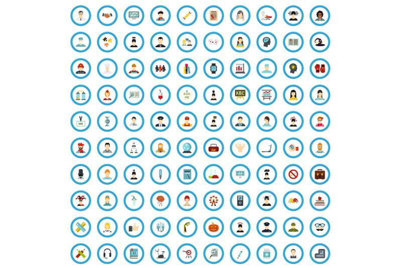 100-feeling-training-icons-set-flat-style