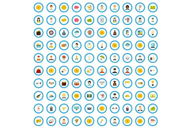 100-lottery-icons-set-flat-style