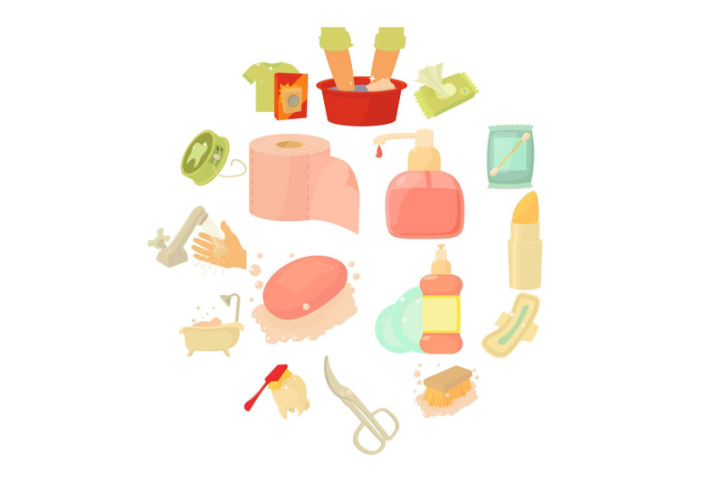 hygiene-cleaning-icons-set-cartoon-style