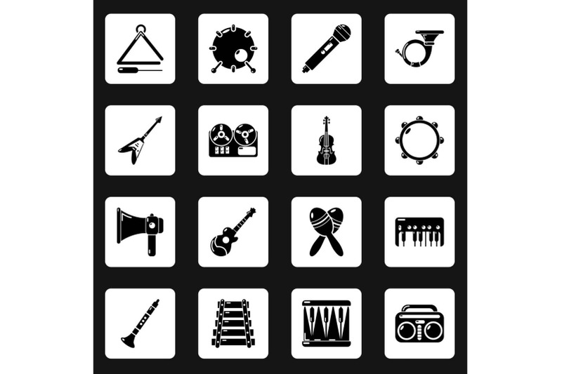 musical-instruments-icons-set-simple-style