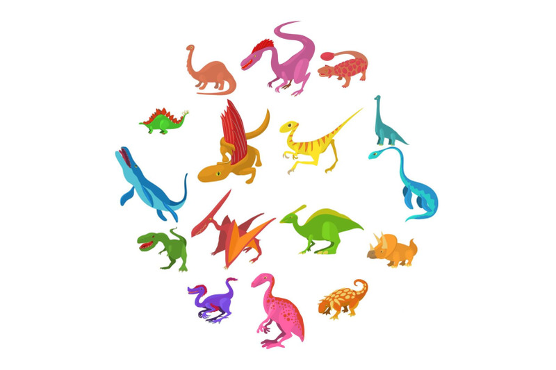 dinosaur-icons-set-cartoon-style