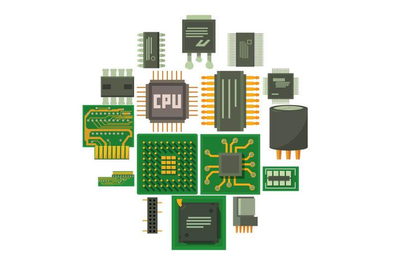 computer-chips-icons-set-cartoon-style