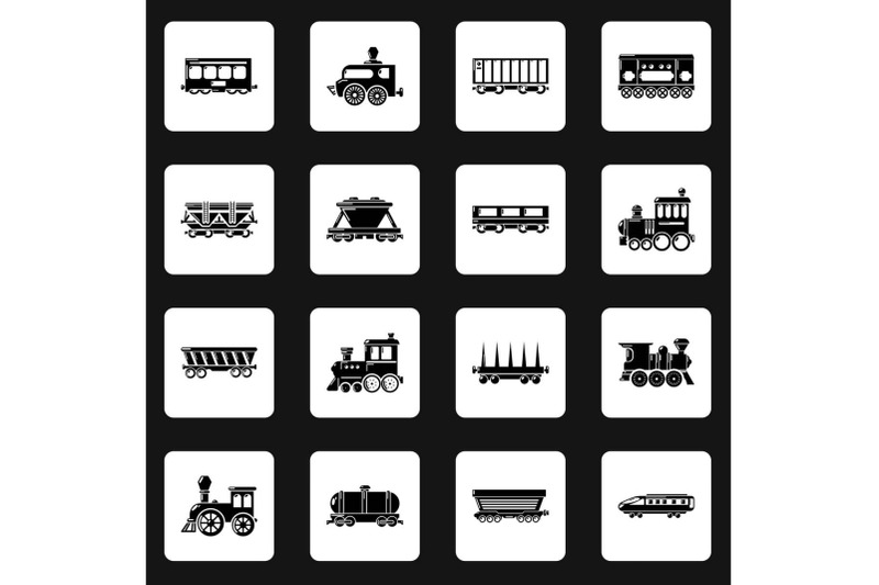 railway-carriage-icons-set-simple-style
