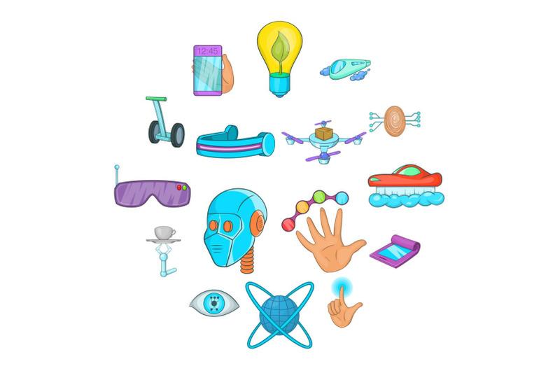 new-technologies-icons-set-cartoon-style