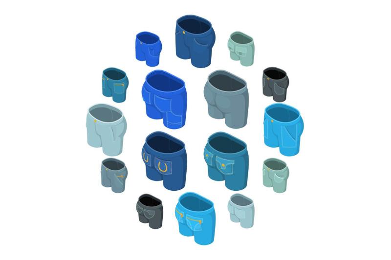 pants-pockets-design-icons-set-isometric-style