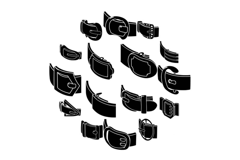 belt-buckle-icons-set-simple-style