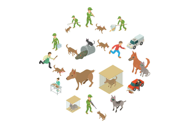 stray-animals-icons-set-isometric-style