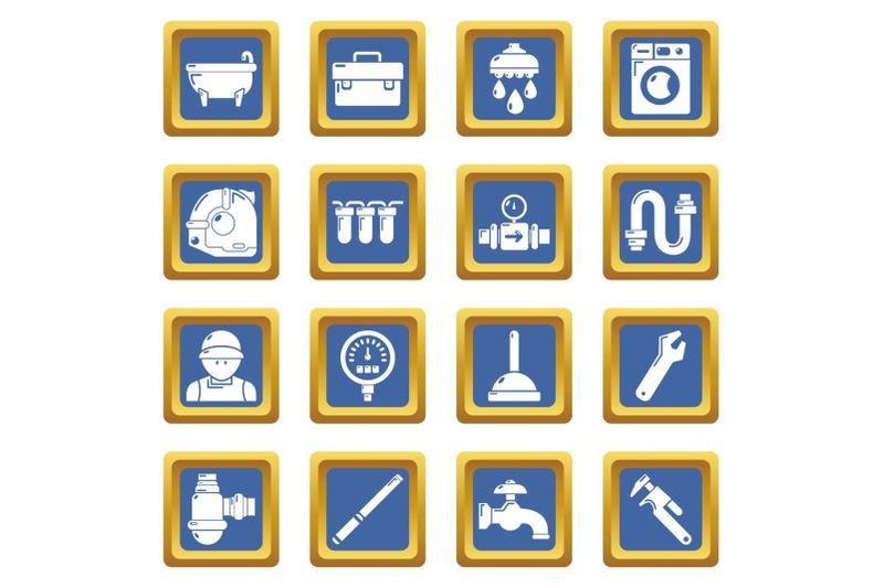 plumber-symbols-icons-set-blue-square-vector