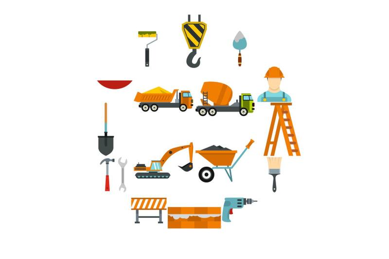 construction-icons-set-flat-style