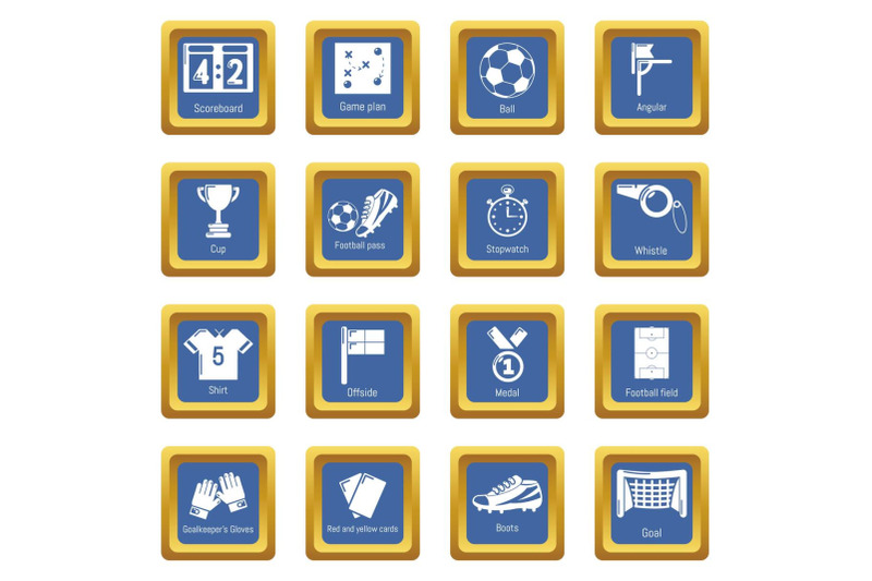 soccer-football-icons-set-blue-square-vector