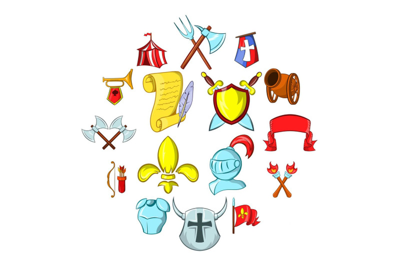 the-middle-ages-icons-set
