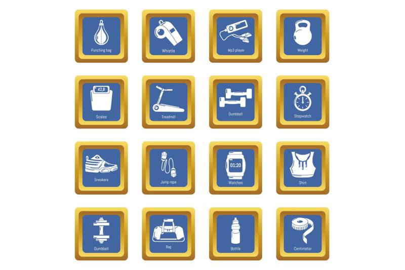 gym-sport-icons-set-blue-square-vector