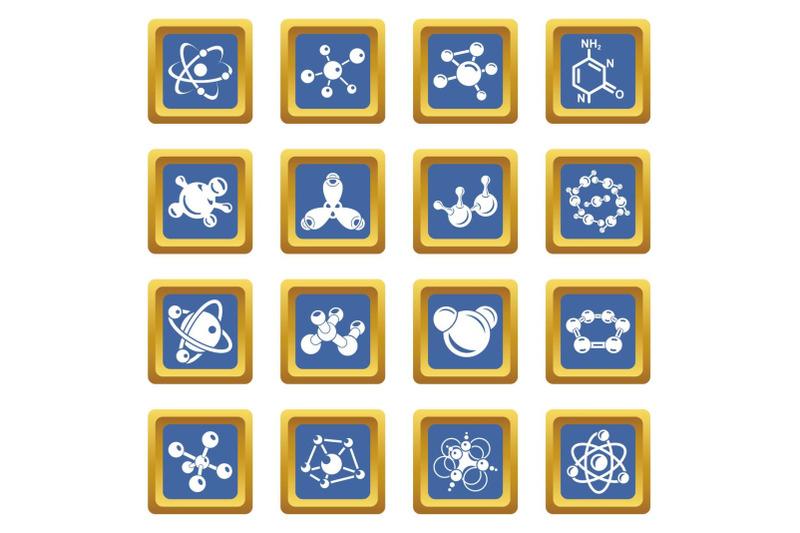 molecule-icons-set-blue-square-vector
