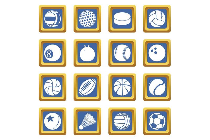 sport-balls-icons-set-blue-square-vector