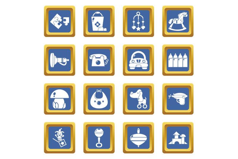 kindergarten-icons-set-blue-square-vector