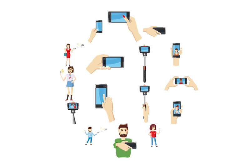 selfie-icons-set-cartoon-style