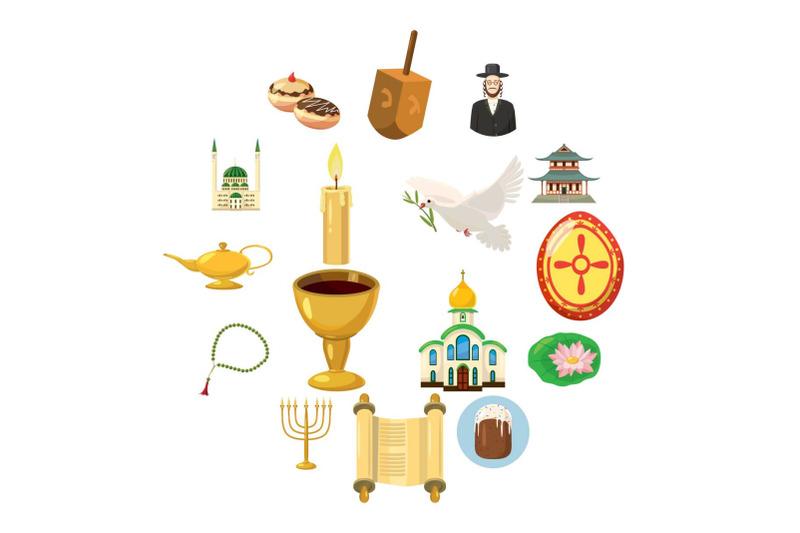 religion-icons-set-cartoon-style