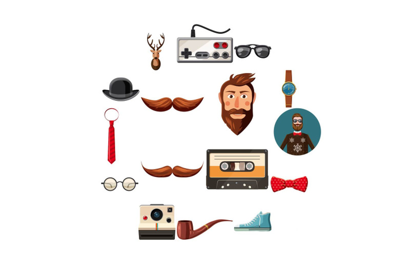 hipster-items-icons-set-cartoon-style