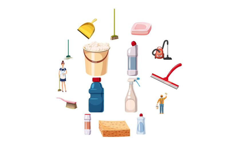cleaning-icons-set-detergents-cartoon-style