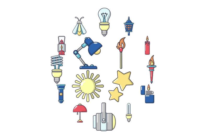 light-source-icons-set-cartoon-style