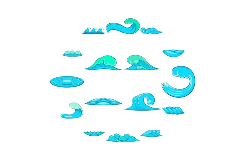 waves-icons-set-cartoon-style