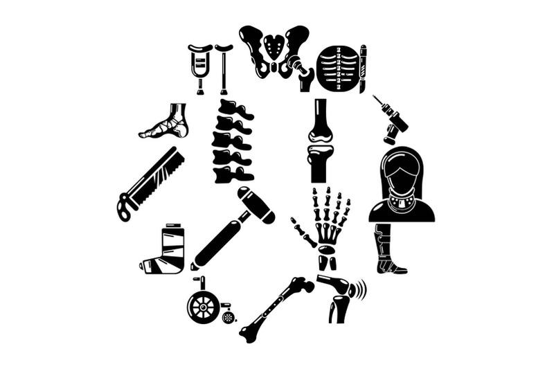 orthopedist-bone-tools-icons-set-simple-style