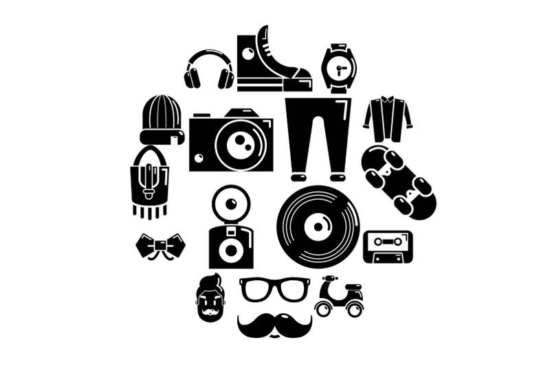 hipster-symbols-icons-set-simple-style