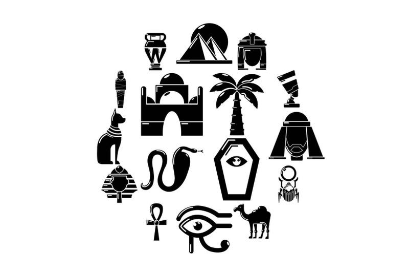 egypt-travel-icons-set-simple-style