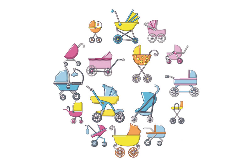 baby-carriage-icons-set-cartoon-style