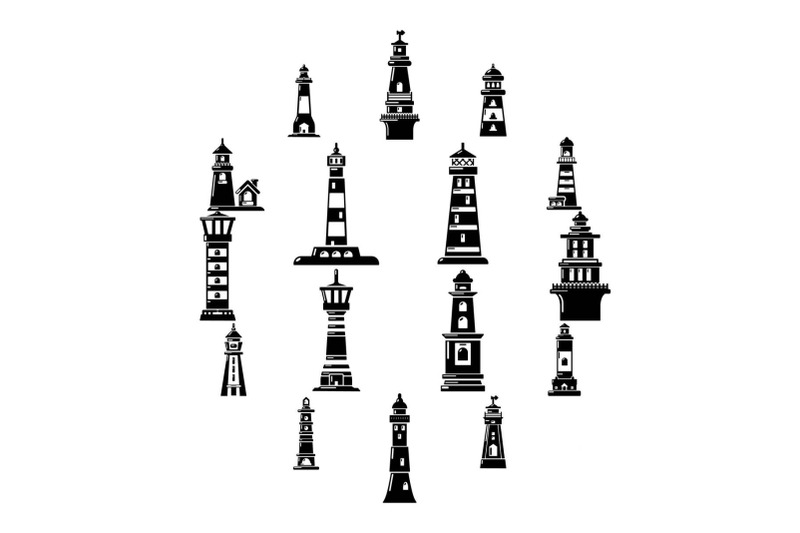 lighthouse-icons-set-simple-style