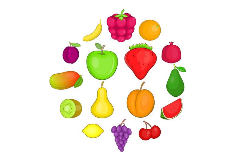 fruit-icons-set-cartoon-style