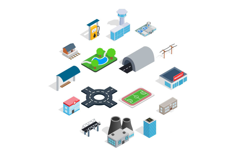 infrastructure-icons-set-isometric-3d-style