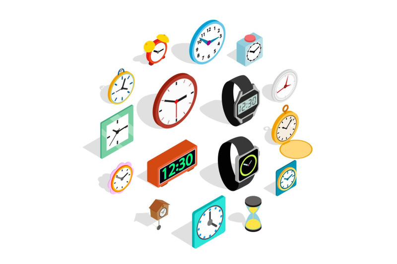 clock-icons-set-in-isometric-3d-style