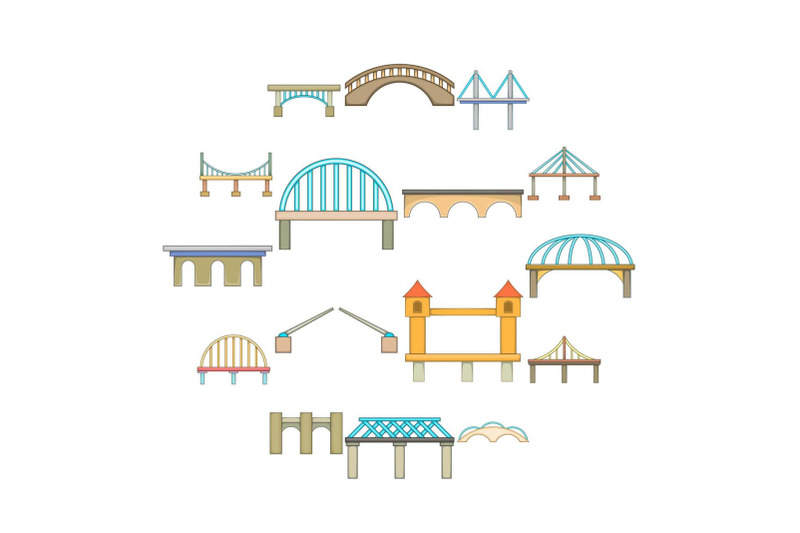bridge-construction-icons-set-cartoon-style
