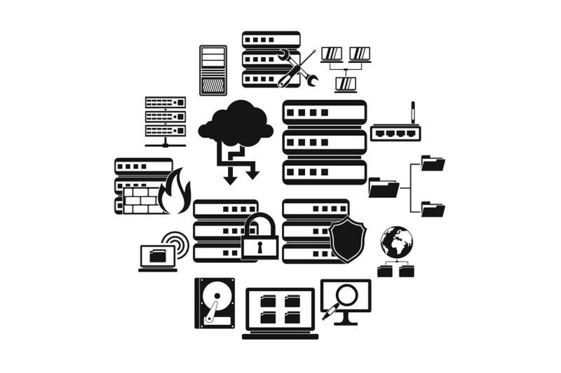 big-data-icons-set-simple-style