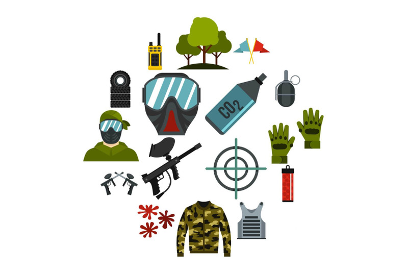 paintball-icons-set-flat-style