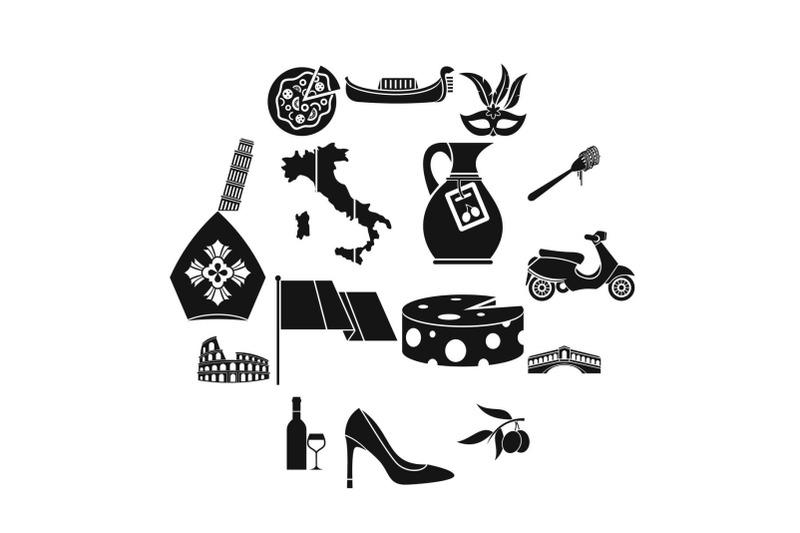 italia-icons-set-simple-style