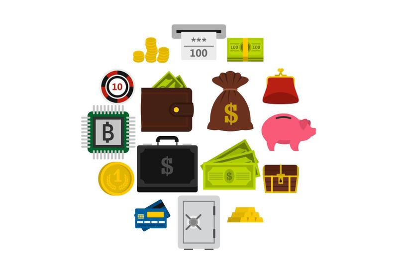 money-icons-set-flat-style