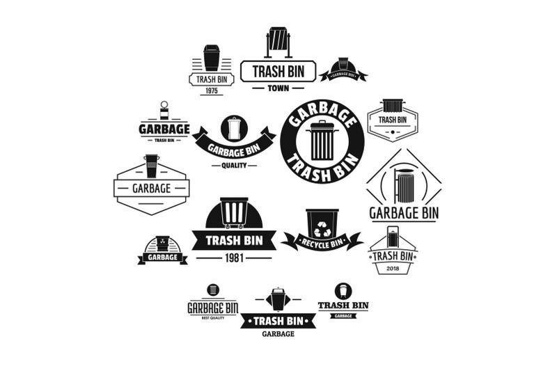 trash-bin-logo-icons-set-simple-style