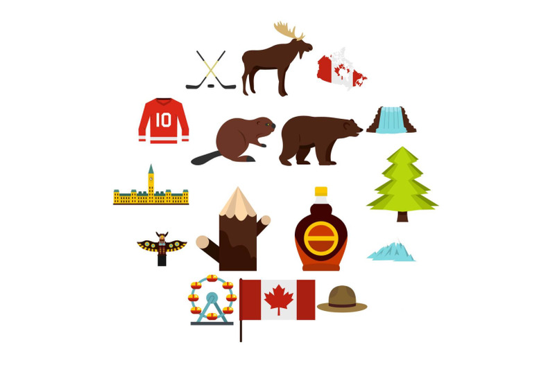 canada-travel-icons-set-in-flat-style