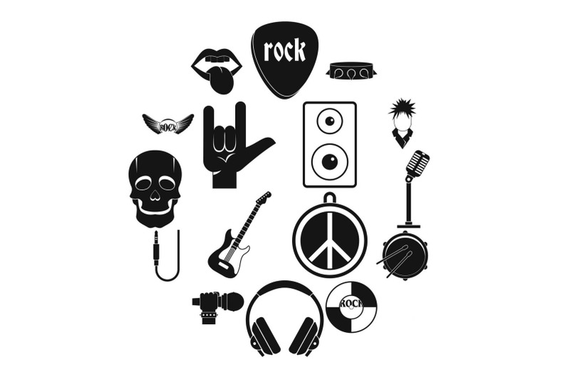 rock-music-icons-set-simple-style