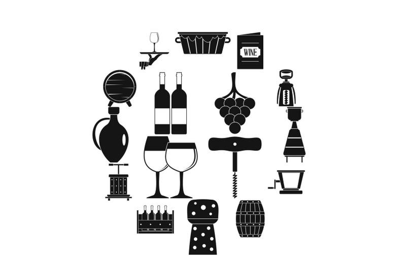 wine-icons-set-simple-style