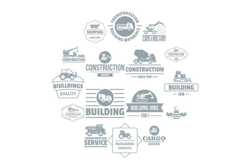 building-vehicles-logo-icons-set-simple-style