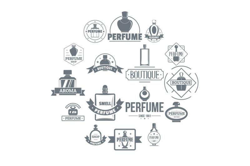 perfume-bottles-logo-icons-set-simple-style