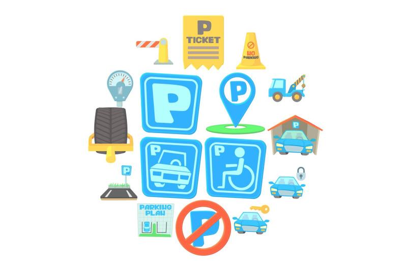 parking-icons-set-cartoon-style