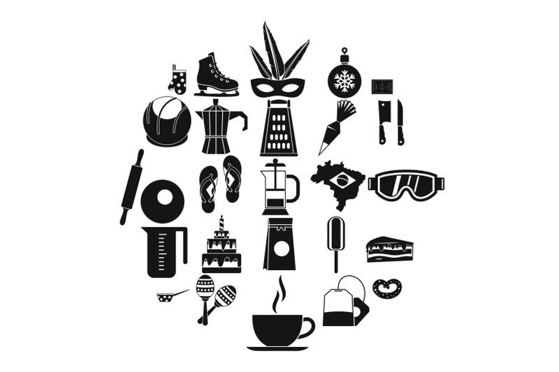 street-food-icons-set-simple-style