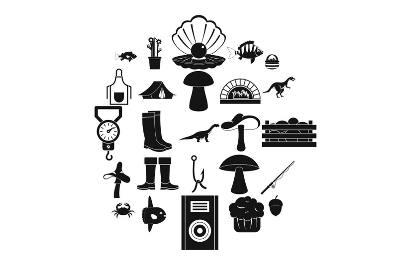 fishing-icons-set-simple-style