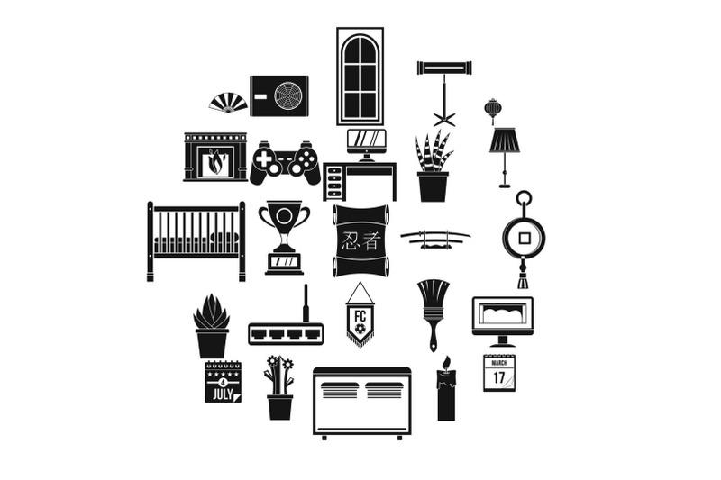 habitation-icons-set-simple-style